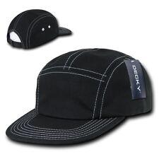 Black Cotton 5 Panel Stitch Solid Biker Racing Jockey Adjustable Cadet Cap Hat