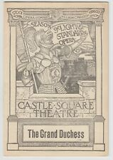 1907 Program THE GRAND DUCHESS by Jacques Offenbach Castle Square Theatre