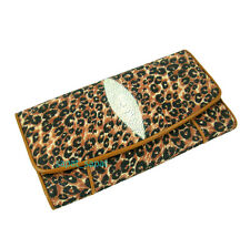 Stingray Ray Wallets Leopard Women Genuine Real Leather Purse Tri-fold Bag