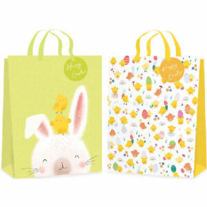 Chicks Bunnies Gift Bag Easter Large - Wrapping Ribbon Gift Tag Present Eggs