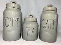 """Rae Dunn Ceramic grey """"COFFEE, TEA, OATS"""" Canisters-BRAND NEW! (Ships Same Day!)"""