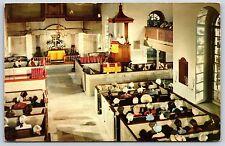 Burton Parish Church Interior in Williamsburg, Virginia Chrome Postcard