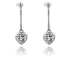 18K White Gold GP Austria Crystal AAA CZ Zircon Heart Dangle Earrings Studs