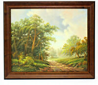 Country Road Landscape 20 x 24 Art Oil Painting on Canvas w/ Smooth Wooden Frame