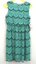 New Luxology Women's Size 6 Sleeveless Above Knee Dress Turquoise Blue Lace