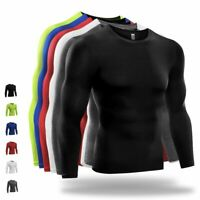 US Men Compression T Shirt Base Layer Tight Thermal Sport Long Sleeve Training