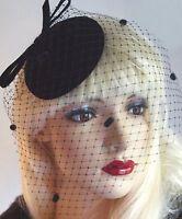 Chapeau Jules Vintage Style Black Velvet Fascinator Veil Hat Designer Handmade