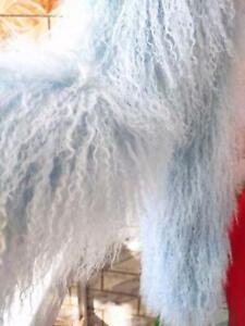 Light blue Mongolian Sheepskin Long Curly Wool Scarf /Boa Women's Shawls