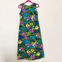 Vintage Royal Hawaiian Maxi Dress Women's Small Cotton Blue Green Floral Pink