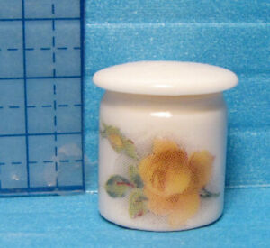"""Tiny Dresser Box - Canister 5/8"""" Dollhouse 1:12  Handcrafted Porcelain Signed"""