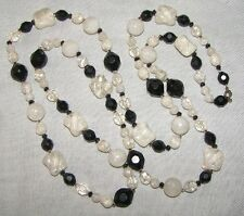 VINTAGE CHUNKY BLACK & FROSTED LUCITE SUPER LONG NECKLACE