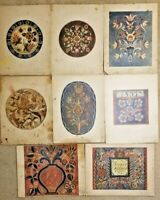 "8 Color Prints Norwegian Designs ""old rosemaling In Rogaland"" Portfolio Folder 1"