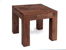 Lamp Side End Table Solid Acacia Rustic Dark Oak Finish