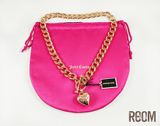 Juicy Couture Crown Toggle Puff Heart Charm Necklace Rose Gold color