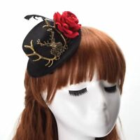 Victorian Steampunk Hairclip Deer Rose Element Women's Black Gothic Mini Top Hat