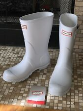 Hunter Sz 8 Original Short Rainboots Matte White Mid Calf Boot with Side Buckle