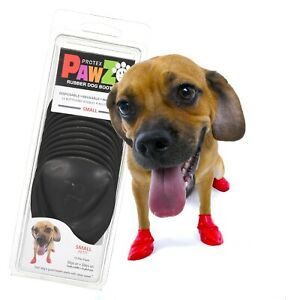 NEW Black Rubber Dog Boots, Small 12-Pack, Reusable Waterproof by PawZ