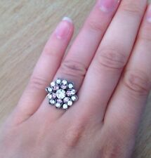 Flower Shape Crystal Ring/Diamonte/Clear/Purple Crystal/Iridescent/Sparkly/Bling