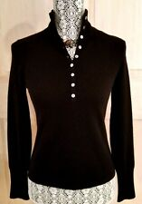 "NWT LANDS END 100% CASHMERE Collared Sweater ~ S ~ BLACK ~ 34"" Bust"