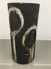 Unusual BRIGLIN Pottery Vase with sgraffito and abstract floral design
