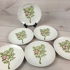 "Crate and Barrel Christmas Dessert Plates Pear Tree Partridge 8"" Porcelain 6 Pcs"