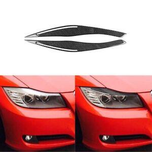 Carbon Fiber Headlight Eyelid Eyebrows Sticker Trim fit For BMW 3 E90 2009-2012