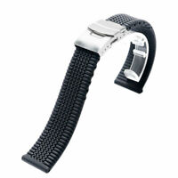Black Silicone Rubber Watch Band Strap Waterproof Divers Sports 20/22/24mm