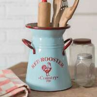 Farmhouse Red Rooster Caddy Utensil Holder Flower Display Farm Country Decor New