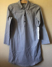 NWT Gap Girls Nightgown Size 12 Sleep Shirt Winter Pajama PJs Blue Polka Dots