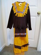 Native American Boy Costume 3 Piece Brown /& Black Fringed Top Pants /& Headpiece