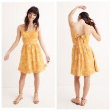 Madewell 10 Silk Fleur Bow Back Dress Floral Butterfly Garden Yellow H7269 $158