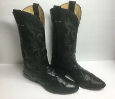 Nocona Black Full Quill Ostrich Leather Cowboy Western Boots Men's size 8 1/2 D