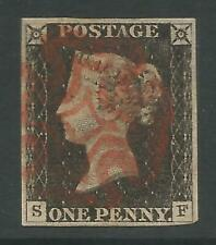 STAMPS-GREAT BRITAIN. 1840. 1d Black. Lettered S.F. Plate 3. SG: 2. Fine Used