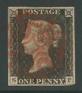 STAMPS-GREAT BRITAIN. 1840. 1d Black. Lettered S.F. Plate 3. SG: 2. Fine Used.