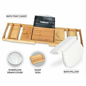 Milliard Ultimate Bath Spa Kit Includes Bamboo Bath Caddy Tray Suction Bath open