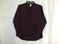 Mens APT 9 L Large Solid Burgundy Purple Long Sleeve Button Front Shirt