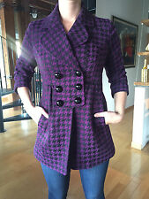 MAC & JAC Women's Purple and Black Houndstooth 3/4 Sleeve Pea Coat Size Med NEW