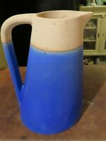 "Vintage Blue 9"" Ceramic Pitcher Mid-Century Modern Slanted Pottery Danish"