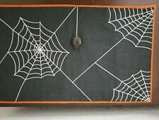 Crate & Barrel Spooky Spider Web Table Runner Halloween 14x48 Gray Orange
