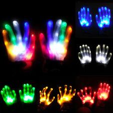 LED Flashing Finger Light Up Gloves Lighting Xmas Rave Party Dance Skeleton