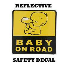 """""""BABY ON ROAD"""" Baby on board reflective Yellow Graphic Car Safety Sticker Decal"""