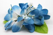 Hawaii Hair Clip Lei Party Luau Plumeria Flower Dance Beach Photo Blue Edge