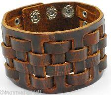 Véritable Cuir Marron Tissage Bracelet Bracelet Bracelet Homme Bracelet Band A50