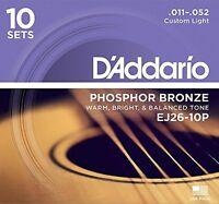 D'Addario Phosphor Bronze Acoustic Guitar Strings, Custom Light, 11-52, 10 Sets