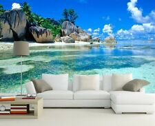 3D Summer Beach Landscape Wallpaper Room Mural Wall Decal TV Background