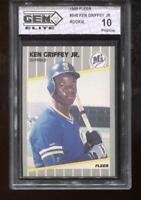 Ken Griffey Jr. RC 1989 Fleer #548 Mariners HOF Rookie GEM Elite 10 Pristine