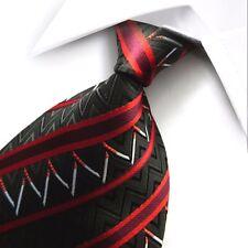 Mano Negra Corbata Seda Tejida 100% Puro con diseño de raya diagonal rojo y blanco