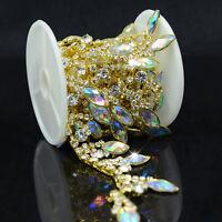 1 Yd Silver Gold  AB Crystal Rhinestone Appliques Chain Trims Dress Craft Sewing