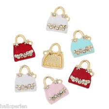 NEW 5PCs Charm Pendants Handbag Gold Plated Random Clear Rhinestone Enamel