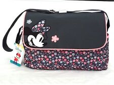 Gray Disney Minnie Mouse Bow Flowers Baby Girl Shoulder Tote Diaper Bag DEFECT